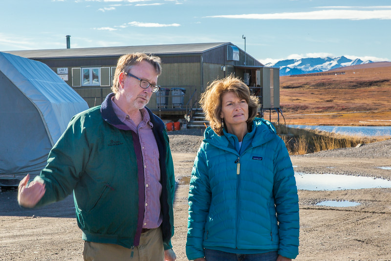 """Brian Barnes, director of UAF's Institute of Arctic Biology, visits with U.S. Senator Lisa Murkowski during the senator's brief visit to IAB's Toolik Field Station on Alaska's North Slope in Sept, 2013.  <div class=""""ss-paypal-button"""">Filename: AAR-13-3929-239.jpg</div><div class=""""ss-paypal-button-end""""></div>"""