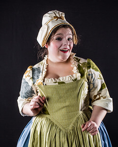 Cast members from Theatre UAF's spring 2014 production of Tartuffe display their costumes.  Filename: AAR-14-4134-137.jpg