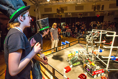 High school students from throughout Interior Alaska squared off in the Wood Center ballroom in February for an annual robotics competition.  Filename: AAR-13-3729-106.jpg