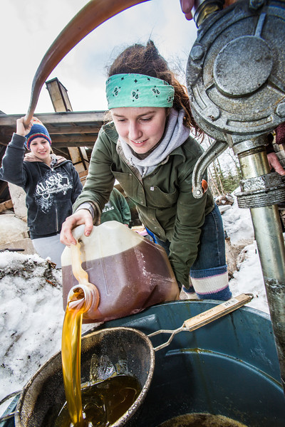 """Ceramics student Katie Antal pours gallons of waste cooking oil through a screen before its pumped into a kiln to glaze ceramics projects made during the spring 2013 semester.  <div class=""""ss-paypal-button"""">Filename: AAR-13-3802-49.jpg</div><div class=""""ss-paypal-button-end"""" style=""""""""></div>"""