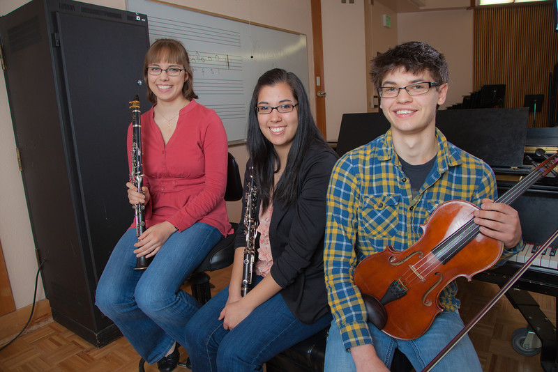 "Scholarship recipients Kailyn Davis, left, Ellen Parker and Trevor Adams meet after rehearsal in the McGowan Room in the music department.  <div class=""ss-paypal-button"">Filename: AAR-12-3300-07.jpg</div><div class=""ss-paypal-button-end"" style=""""></div>"