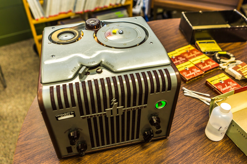 """This recording device and several accompanying recording wires were recently donated to the Oral History program at UAF's Rasmuson Library. The recorder used technology popular through the country in the 1930s-1960s.  <div class=""""ss-paypal-button"""">Filename: AAR-16-4783-55.jpg</div><div class=""""ss-paypal-button-end""""></div>"""