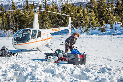 Geophysical Institute graduate student Joanna  Young packs gear before taking a helicopter to access sites on the Jarvis Glacier, about 35 miles south of Delta Junction. Young is part of a UAF team investigating future flow in rivers coming directly from glaciers, as bridges and road networks can be affected by varying water levels.  Filename: AAR-13-3795-19.jpg