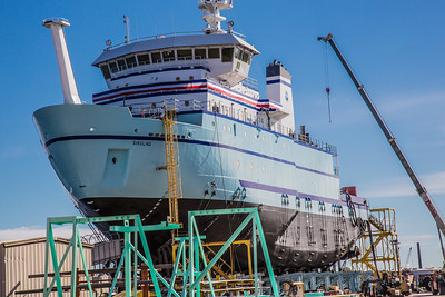 The R/V Sikuliaq sits on the pad at Marinette Marine Corporation in Marinette, Wisc., a day before it's official launch.  Filename: AAR-12-3592-153.jpg