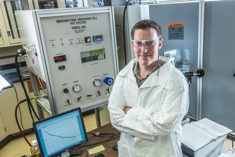 """Undergraduate John Cheshire conducts research in UAF's Petroleum Development Lab in the Duckering Building.  <div class=""""ss-paypal-button"""">Filename: AAR-13-3918-49.jpg</div><div class=""""ss-paypal-button-end"""" style=""""""""></div>"""