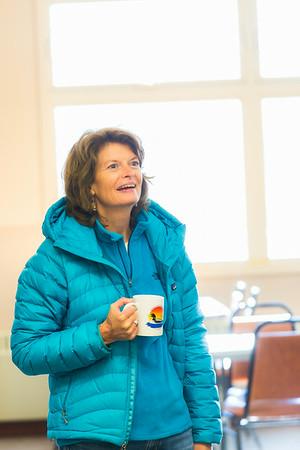 During a brief visit to UAF's Toolik Field Station in Sept., 2013, U.S. Senator Lisa Murkowski enjoys a hot beverage in the dining hall.  Filename: AAR-13-3929-411.jpg