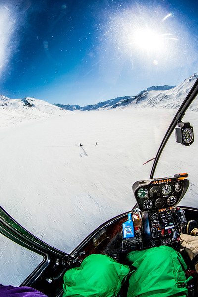 "A helicopter is used to access research sites on the Jarvis Glacier, about 35 miles south of Delta Junction. A UAF team is nvestigating future flow in rivers coming directly from glaciers, as bridges and road networks can be affected by varying water levels.  <div class=""ss-paypal-button"">Filename: AAR-13-3795-511.jpg</div><div class=""ss-paypal-button-end"" style=""""></div>"
