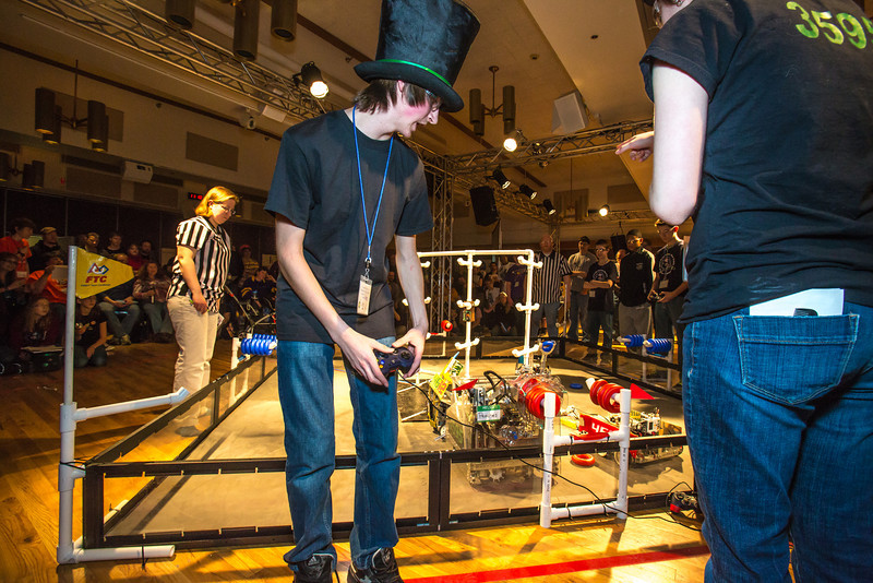 """High school students from throughout Interior Alaska squared off in the Wood Center ballroom in February for an annual robotics competition.  <div class=""""ss-paypal-button"""">Filename: AAR-13-3729-95.jpg</div><div class=""""ss-paypal-button-end"""" style=""""""""></div>"""