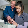 "UAF Community and Technical College assistant professor Jenifer Filotei points out features on a radiograph x-ray with dental assisting student Vanessa Mountain at the school's facility on Barnette Street in downtown Fairbanks.  <div class=""ss-paypal-button"">Filename: AAR-16-4873-001.jpg</div><div class=""ss-paypal-button-end""></div>"