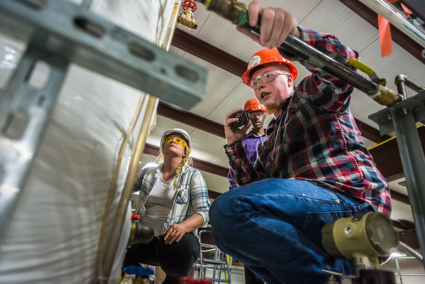 """Cody Smith speaks to the radio during a demonstration by the recent graduates of the inaugural Mining Mill Operations occupational endorsement on July 29, 2016.  <div class=""""ss-paypal-button"""">Filename: AAR-16-4944-133.jpg</div><div class=""""ss-paypal-button-end""""></div>"""