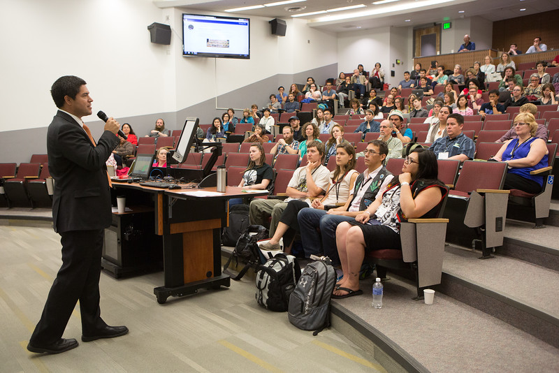 """Vice Chancellor Evon Peter welcomes the 2016 Collaborative Language Research conference at the Schaible Auditorium on the Fairbanks campus.  <div class=""""ss-paypal-button"""">Filename: AAR-16-4919-54.jpg</div><div class=""""ss-paypal-button-end""""></div>"""
