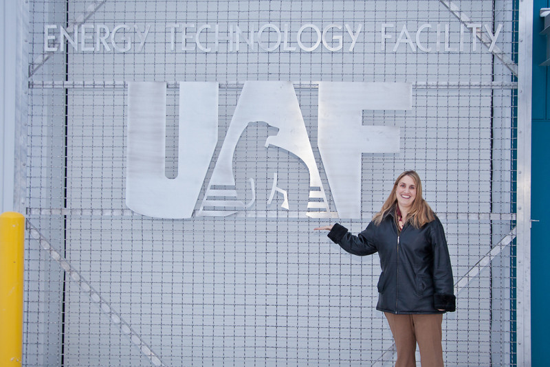 """ACEP Director Gwen Holdmann stands next to one of the loading doors into their new research facility on the Fairbanks campus.  <div class=""""ss-paypal-button"""">Filename: AAR-11-3245-435.jpg</div><div class=""""ss-paypal-button-end"""" style=""""""""></div>"""