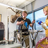 "Chris Wilson gets ready to exercise on a stair step machine while Ashley Jacobs (in yellow) and Marisol Bastiani stand by to collect data during a human physiology lab in the Murie Building.  <div class=""ss-paypal-button"">Filename: AAR-13-3983-4.jpg</div><div class=""ss-paypal-button-end"" style=""""></div>"
