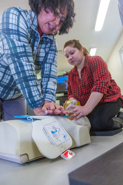 """Residents of Dillingham learn CPR techniques at a community workshop hosted by UAF's Bristol Bay Campus.  <div class=""""ss-paypal-button"""">Filename: AAR-16-4860-081.jpg</div><div class=""""ss-paypal-button-end""""></div>"""
