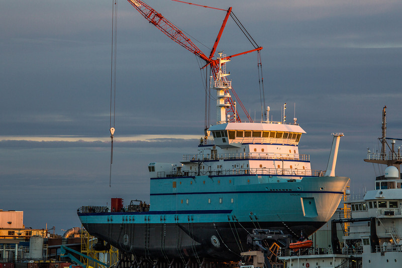 "The R/V Sikuliaq sits on the pad at Marinette Marine Corporation in Marinette, Wisc., a day before it's official launch  <div class=""ss-paypal-button"">Filename: AAR-12-3591-28.jpg</div><div class=""ss-paypal-button-end"" style=""""></div>"