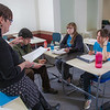 "Professor Alexandra Fitts works with small groups of students in her Hispanic Theater class during a recent meeting in the Gruening Building.  <div class=""ss-paypal-button"">Filename: AAR-12-3350-53.jpg</div><div class=""ss-paypal-button-end"" style=""""></div>"