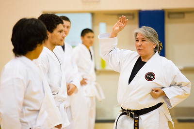 Sporting the traditional-white gi, students of the Rural Alaska Honors Institute learn basic karate skills during their physical education class, June 18, 2012.  Filename: AAR-12-3440-31.jpg