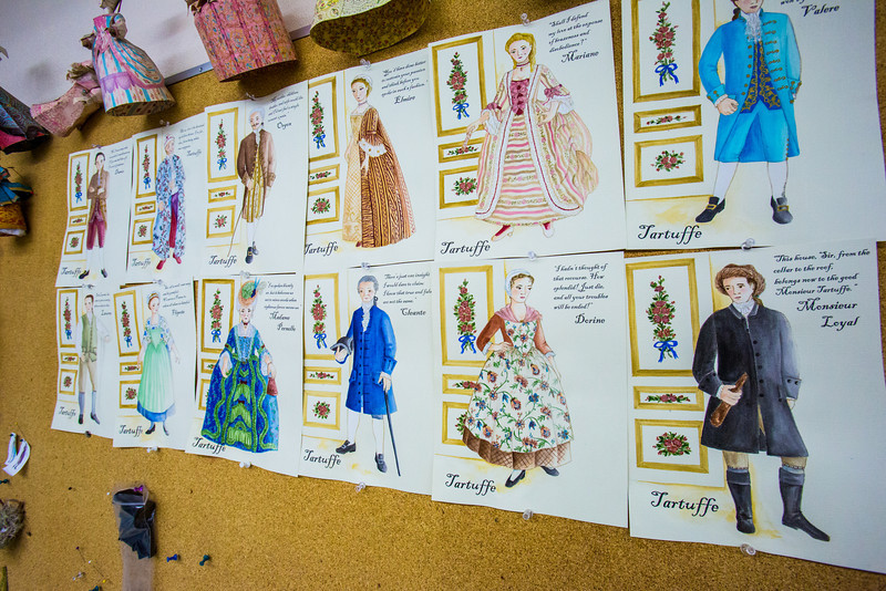 """Garments for the Theatre UAF production of Tartuffe are hand sewn from sketches drawn by Bethany Marx, assistant professor of costume design, and posted in the costume room of the Fine Arts complex.  <div class=""""ss-paypal-button"""">Filename: AAR-14-4095-7.jpg</div><div class=""""ss-paypal-button-end"""" style=""""""""></div>"""