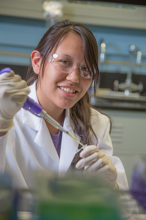 Jacinta Matthias from Kotlik took part in the six-week RAHI Research summer residence program, learning molecular biology and genetics while working in a research lab on the Fairbanks campus.  Filename: AAR-12-3459-083.jpg