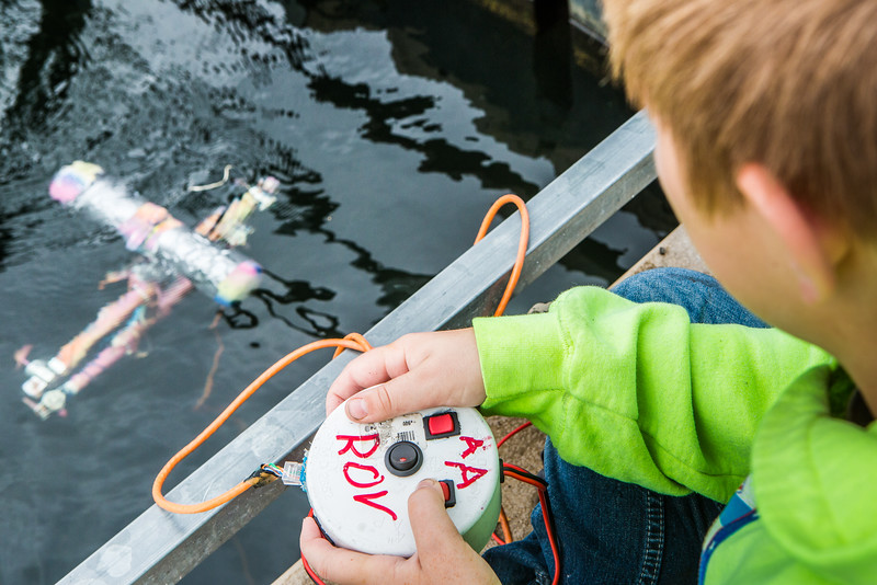 """Alaska Summer Research Academy participants test their remotely operated underwater vehicles at the Chena Lake Recreation Area on Thursday, July 28.  <div class=""""ss-paypal-button"""">Filename: AAR-16-4943-125.jpg</div><div class=""""ss-paypal-button-end""""></div>"""