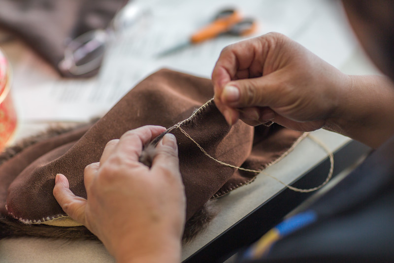 """Community members learn how to make authentic beaver hats during an evening class at UAF's Chukchi Campus in Kotzebue.  <div class=""""ss-paypal-button"""">Filename: AAR-16-4863-068.jpg</div><div class=""""ss-paypal-button-end""""></div>"""