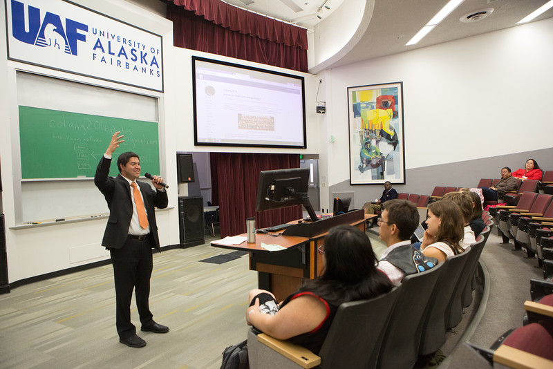 """Vice Chancellor Evon Peter welcomes the 2016 Collaborative Language Research conference at the Schaible Auditorium on the Fairbanks campus.  <div class=""""ss-paypal-button"""">Filename: AAR-16-4919-65.jpg</div><div class=""""ss-paypal-button-end""""></div>"""