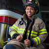 "UAF student firefighter/EMTs Lillian Hampton poses by one of the firetrucks housed in the Whitaker Building on the Fairbanks campus.  <div class=""ss-paypal-button"">Filename: AAR-11-3223-158.jpg</div><div class=""ss-paypal-button-end"" style=""""></div>"