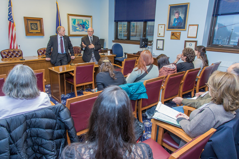 """Students from UAF's Alaska Native Studies and Rural Development program meet with Senate Majority Leader John Coghill during their weeklong seminar on Understanding the Legislative Process in the state capital of Juneau.  <div class=""""ss-paypal-button"""">Filename: AAR-14-4053-52.jpg</div><div class=""""ss-paypal-button-end"""" style=""""""""></div>"""