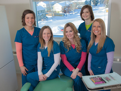 Students in the CTC dental hygienist program pose for a group photo in their training facility in downtown Fairbanks.  Filename: AAR-12-3308-182.jpg