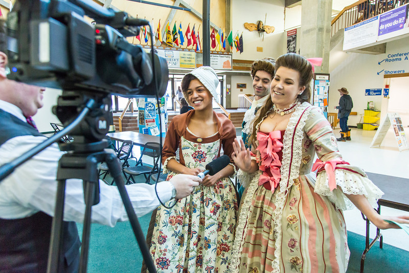 """Nicole Cowans, left, Marley Horner, center and Katrina Kuharich, cast members in Theatre UAF's production of """"Tartuffe"""" are interviewed by local media  after performing a live teaser in Wood Center a couple of days before opening night.  <div class=""""ss-paypal-button"""">Filename: AAR-14-4121-65.jpg</div><div class=""""ss-paypal-button-end"""" style=""""""""></div>"""