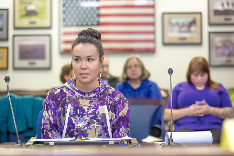 """Kelsey Wallace, a senior in UAF's rural development program from Bethel, presents testimony before a committee of her peers during a mock legislative hearing as part of a weeklong seminar on understanding the legislative process in Juneau.  <div class=""""ss-paypal-button"""">Filename: AAR-14-4056-152.jpg</div><div class=""""ss-paypal-button-end"""" style=""""""""></div>"""