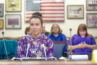 Kelsey Wallace, a senior in UAF's rural development program from Bethel, presents testimony before a committee of her peers during a mock legislative hearing as part of a weeklong seminar on understanding the legislative process in Juneau.  Filename: AAR-14-4056-152.jpg