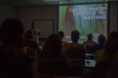 "Reid Brewer discusses his recent projects in Alaskan waters during a lecture of ""The Underwater World of the Aleutians.""  Filename: AAR-12-3447-1.jpg"