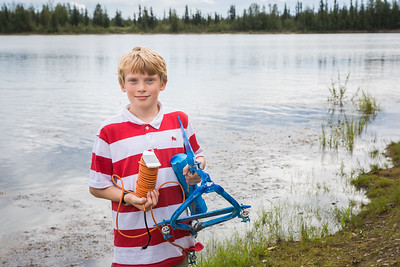 Alaska Summer Research Academy participants test their remotely operated underwater vehicles at the Chena Lake Recreation Area on Thursday, July 28.  Filename: AAR-16-4943-50.jpg