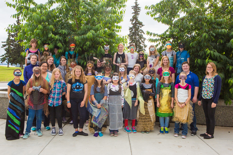 """Dressed in their animal costumes, Colors of Nature students with their instructors gather for a group photo after two weeks of learning science and art in front of the Murie Building.  <div class=""""ss-paypal-button"""">Filename: AAR-16-4938-5.jpg</div><div class=""""ss-paypal-button-end""""></div>"""