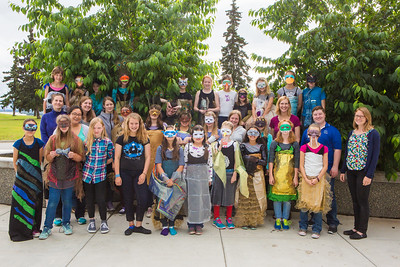 Dressed in their animal costumes, Colors of Nature students with their instructors gather for a group photo after two weeks of learning science and art in front of the Murie Building.  Filename: AAR-16-4938-5.jpg