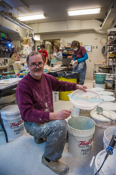 "Local resident Manfred Finger shows one of his creations in the ceramics studio at UAF's Kuskokwim Campus in Bethel.  <div class=""ss-paypal-button"">Filename: AAR-16-4859-677.jpg</div><div class=""ss-paypal-button-end""></div>"