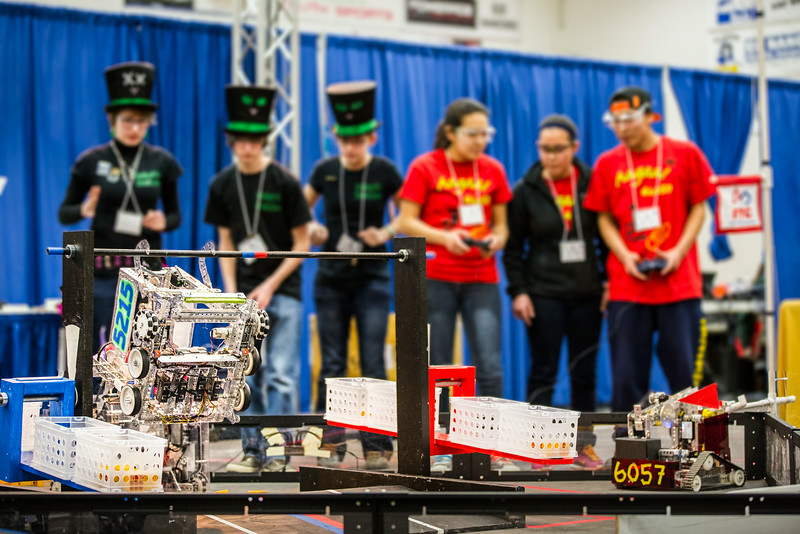 """High school students from throughout Alaska squared off in the Patty Gym in February for an annual robotics competition.  <div class=""""ss-paypal-button"""">Filename: AAR-14-4110-92.jpg</div><div class=""""ss-paypal-button-end""""></div>"""