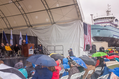 UAF Professor emerita Vera Alexander delivers remarks during the official launch ceremony of the R/V Sikuliaq at Marinette Marine Corp. in Marinette, Wisc.  Filename: AAR-12-3594-099.jpg