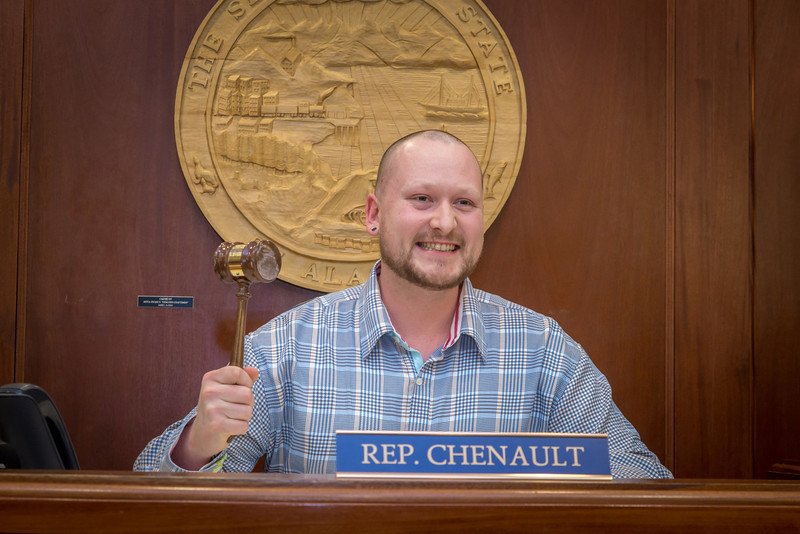 "Uriah Nalikak, a senior in UAF's rural development program from Barrow, has some fun with the gavel moments after posing with Speaker Mike Chenault in the House chambers during a weeklong seminar on understanding the legislative process in Juneau.  <div class=""ss-paypal-button"">Filename: AAR-14-4053-163.jpg</div><div class=""ss-paypal-button-end"" style=""""></div>"