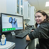 "Dillingham High School student Jolin Kapotak use a 3-D scanner to record bones of a fetus taken from the womb of a pregnant Orca that washed ashore near Dillingham in Alaska's Bristol Bay a few years ago. Kapotak has been earning high school credit through a cooperative agreement with UAF's Bristol Bay Campus to scan the whale's bones with a 3-D scanner and recreate its skeleton using a 3-D printer.  <div class=""ss-paypal-button"">Filename: AAR-16-4860-374.jpg</div><div class=""ss-paypal-button-end""></div>"