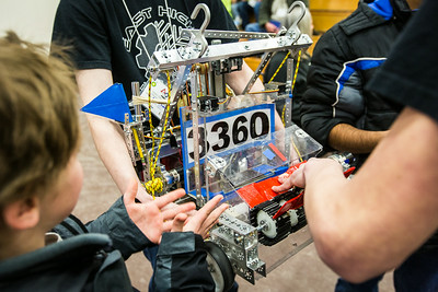 High school students from throughout Alaska squared off in the Patty Gym in February for an annual robotics competition.  Filename: AAR-14-4110-97.jpg
