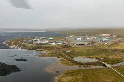An aerial view of the Toolik Field Station, about 370 miles north of Fairbanks on Alaska's North Slope . The camp is operated by UAF's Institute of Arctic Biology and hosts scientists from around the world for a variety of arctic-based research efforts.  Filename: AAR-14-4216-255.jpg