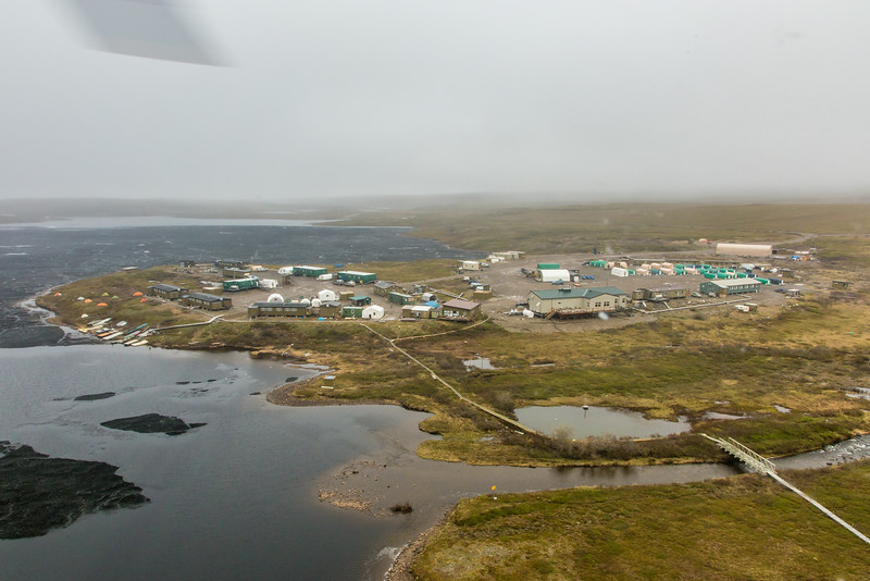 """An aerial view of the Toolik Field Station, about 370 miles north of Fairbanks on Alaska's North Slope . The camp is operated by UAF's Institute of Arctic Biology and hosts scientists from around the world for a variety of arctic-based research efforts.  <div class=""""ss-paypal-button"""">Filename: AAR-14-4216-255.jpg</div><div class=""""ss-paypal-button-end""""></div>"""
