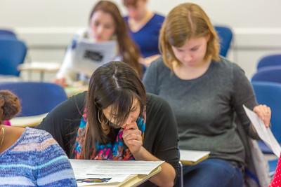 Students in Associate Professor Dani Sheppard's Psychology 335 class, Brain and Behavior, take their final exam Dec. 17 in the Gruening Building.  Filename: AAR-14-4414-144.jpg