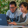 "Corey Joseph, left, from Kwigillingok and Maryanna Jimmie from Bethel collaborate on a project at UAF's Kuskokwim Campus in Bethel.  <div class=""ss-paypal-button"">Filename: AAR-16-4859-071.jpg</div><div class=""ss-paypal-button-end""></div>"
