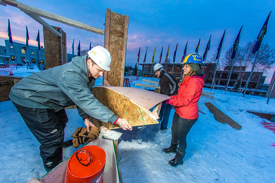 Engineering students meet on a chilly January morning to work on the 2014 ice arch.  Filename: AAR-14-4043-8.jpg