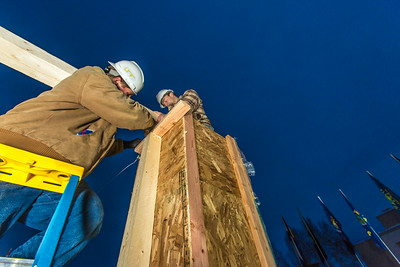 Engineering students meet on a chilly January morning to work on the 2014 ice arch.  Filename: AAR-14-4043-35.jpg