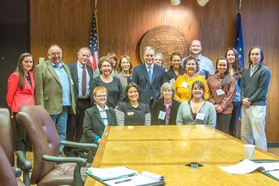 Alaska Governor Sean Parnell poses with students and staff from Prof. Mike Davis's rural development leadership seminar during their week-long workshop in Juneau.  Filename: AAR-14-4053-108.jpg