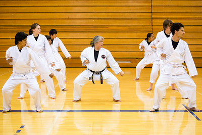 Sporting the traditional-white gi, students of the Rural Alaska Honors Institute learn basic karate skills during their physical education class, June 18, 2012.  Filename: AAR-12-3440-23.jpg